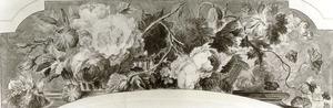 Bloemstilleven in een opengewerkte rieten mand op een piëdestal