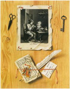 `Trompe l'oeil van een prent naar David Teniers, een brief, een pamflet en een schaar