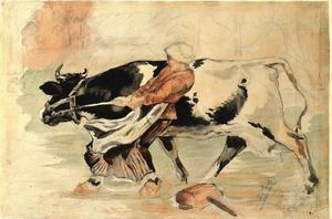 Farm woman with cow (after Julien Dupré)