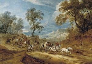 Bebost landschap met struikrovers die een huifkar overvallen