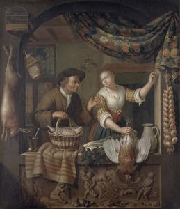 Visverkoper toont zijn waren aan een keukenmeid in een venster