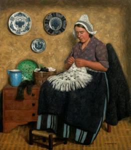 Volendamse vrouw breiend in een interieur