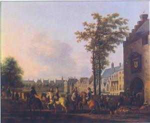 Gezicht op de Hofvijver vanaf de Plaats in Den Haag, rechts de Gevangenpoort
