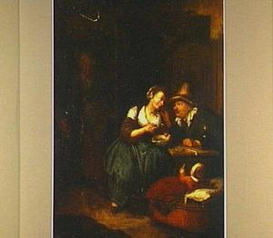 Jonge vrouw, die oudere man pap voert