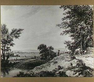 Heuvellandschap met oogstende figuren en herder met vee
