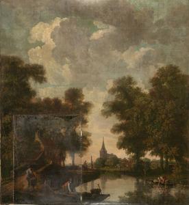 Boomrijk rivierlandschap met kerk