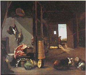 Stalinterieur met vee, een stilleven van etenswaren en in de deuropening een jongen met kruiwagen