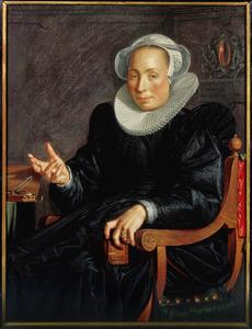 Portret van Christina Wtewael - van Halen (1568-1629)