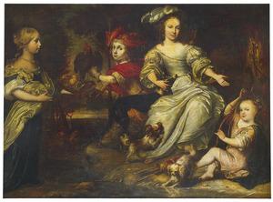 Groepsportret van een jonge vrouw en drie kinderen met jachtattributen