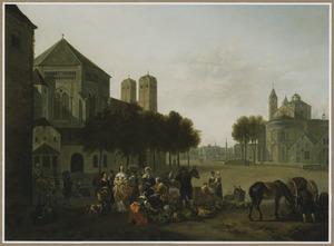 Gezicht op de Sankt Gereon en Sankt Aposteln kerken in Keulen, op de voorgrond een groentenverkoopster