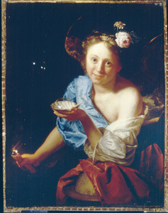 Vanitas: meisje met een schelp, zeepbel en fakkel