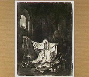 Saul bij de heks van Endor, die de geest van Samuël voor hem oproept (1 Samuël 28:8)
