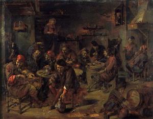Drinkende boeren in een herberg