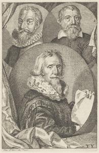 Portretten van Paulus Moreelse (1571-1638), Floris van Dyck (....-1561) en een man genaamd Balthasar Lauwers (1578-1645)