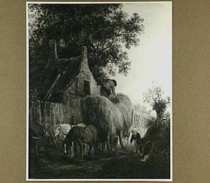 Boerderij met een hooiwagen