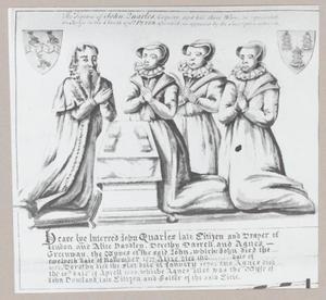 Portret van John Quarles (....-1577) en zijn drie echtgenotes