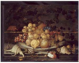 Vruchten op een Wan Li-schaal, met schelpen, een Apothekersroos en een hagedis op een stenen plint