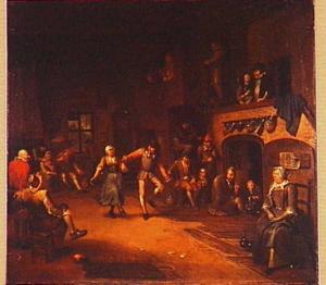 Dansend boerenpaar met toeschouwers in een gelagkamer