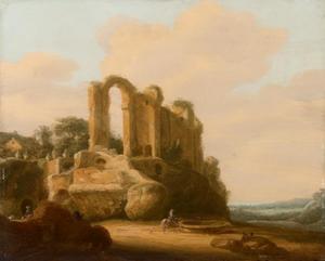 Italianiserend landschap met het Castello dell'Acqua Giulia