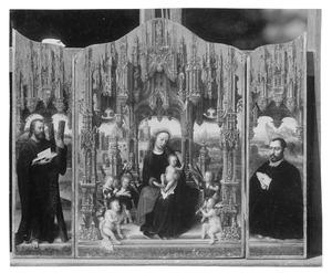 De H. Andreas (links), Tronende Maria met kind en musicerende engelen (midden), Portret van de stichter (rechts)