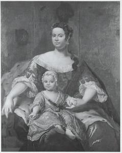 Portret van Ursula Christina Reiniera van Reede van Ginkel (1719-1747) en een kind, waarschijnlijk Frederik Christiaan Hendrik van Tuyll van Serooskerken (1742-1805)