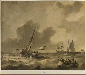 Boten op een woelige zee