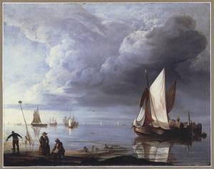 Kustgezicht met schepen bij windstilte, op de voorgrond mosselvissers