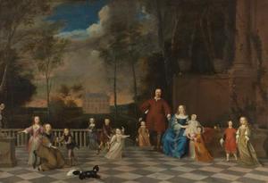 Groepsportret van Jeremias van Collen (1608-1676), zijn echtgenote Susanna van Uffelen (1622-1674) en hun 12 kinderen; op de achtergrond Huis Velserbeek