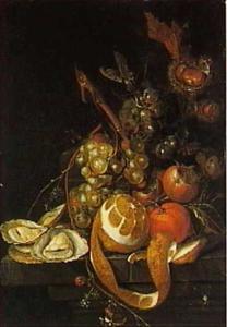 Stilleven met vruchten en oesters op een stenen plint