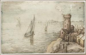 Vissersboten op zee bij een rotskust met vuurtoren