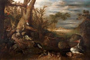 Landschap met vogels, schelpen en een hert