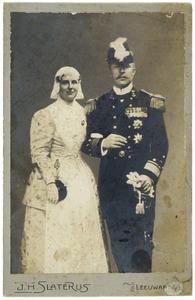 Portret van koningin Wilhelmina (1880-1962) en prins Hendrik (1876-1934)