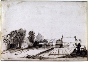 Landschap bij Dordrecht, met zicht op het Kruithuis bij de Vriezepoort