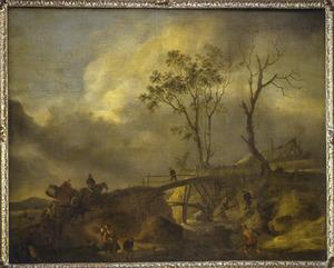 Landschap met reizigers, een ruiter en een boerenkar bij een houten brug