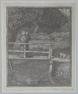 Vrouw met kind op een brug