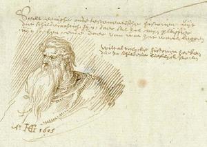 Studie van een oude man in de marge van een brief aan de goudsmit Hans van Weely