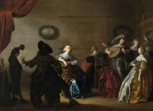 Elegant drinkend en musicerend gezelschap in een interieur