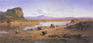 Weids uitzicht op de Romeinse Campagna met buffels