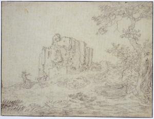 Landschap met de ruïne van kasteel Brederode, vanuit het zuidwesten