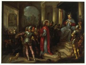 Christus voor Kajafas, op de achtergrond de verloochening van Petrus