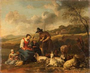 Herders met vee in een italianiserend landschap