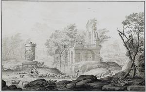 Arcadisch landschap met ruïne, tombe en herders