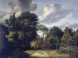 Landschap met een weg langs enkele huizen