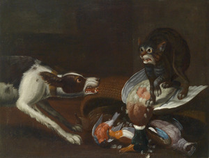 Een kat en een hond die vechten om jachtbuit