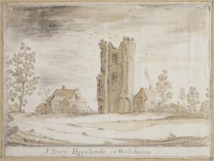 Het dorp Hoogelande in Walcheren met de ruïne van een kerktoren