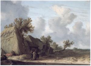 Landschap met zigeuners en andere figuren bij een boerderij