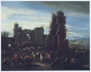 Landschap met reizgers, herders en zigeuners bij een ruïne