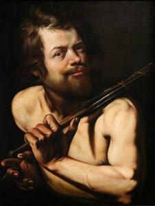 Zelfportret van Martin Faber (1586/87-1648) met schildersstok