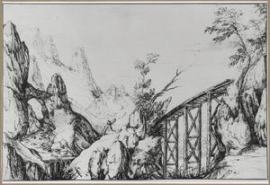 Rotslandschap met brug