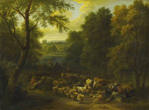 Boslandschap met vee en rustende herders